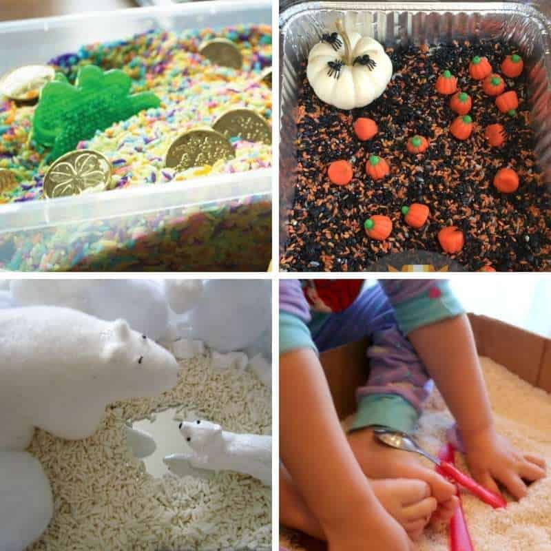sensory tubs with rice for toddlers and preschoolers