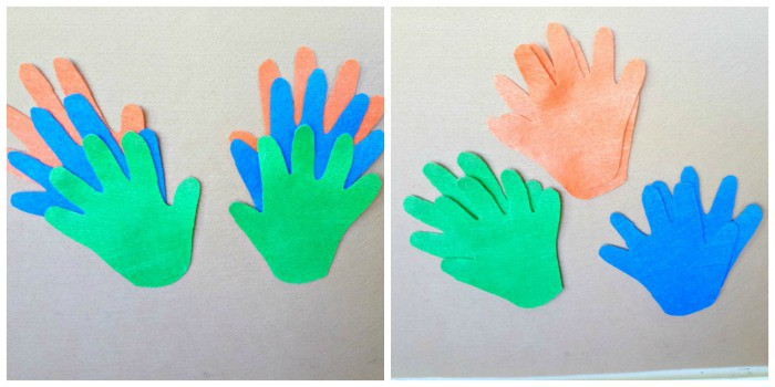 sort and match felt handprint cout-outs