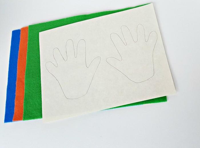 supplies for felt handprints toddler fine motor activity