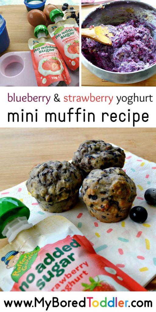 blueberry & strawberry yoghurt mini muffin recipe pinterest