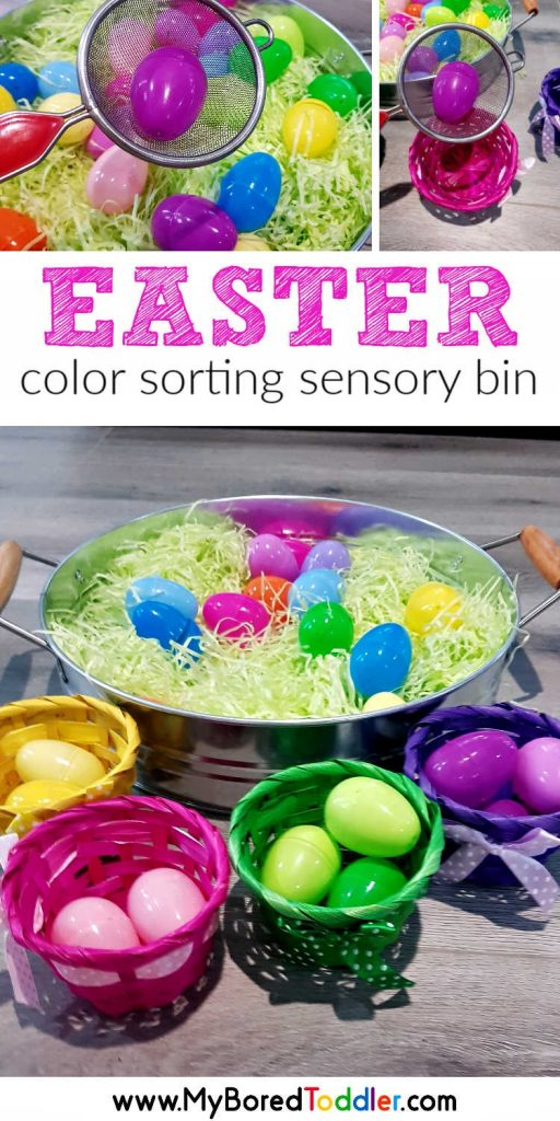 easter color sorting sensory bin for toddlers pinterest - an easy Easter sensory bin for one year olds, two year old and three year olds.