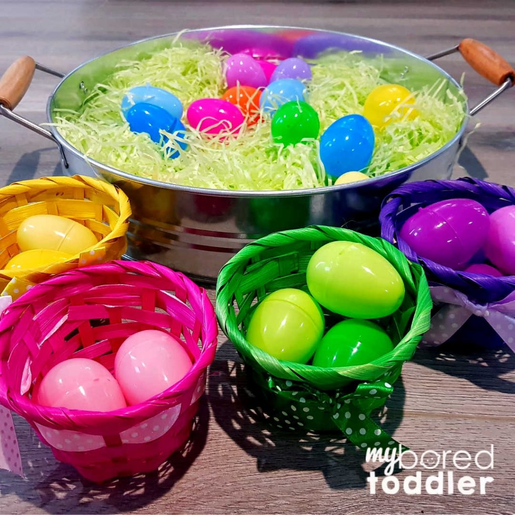 easter egg hunt color sorting in baskets