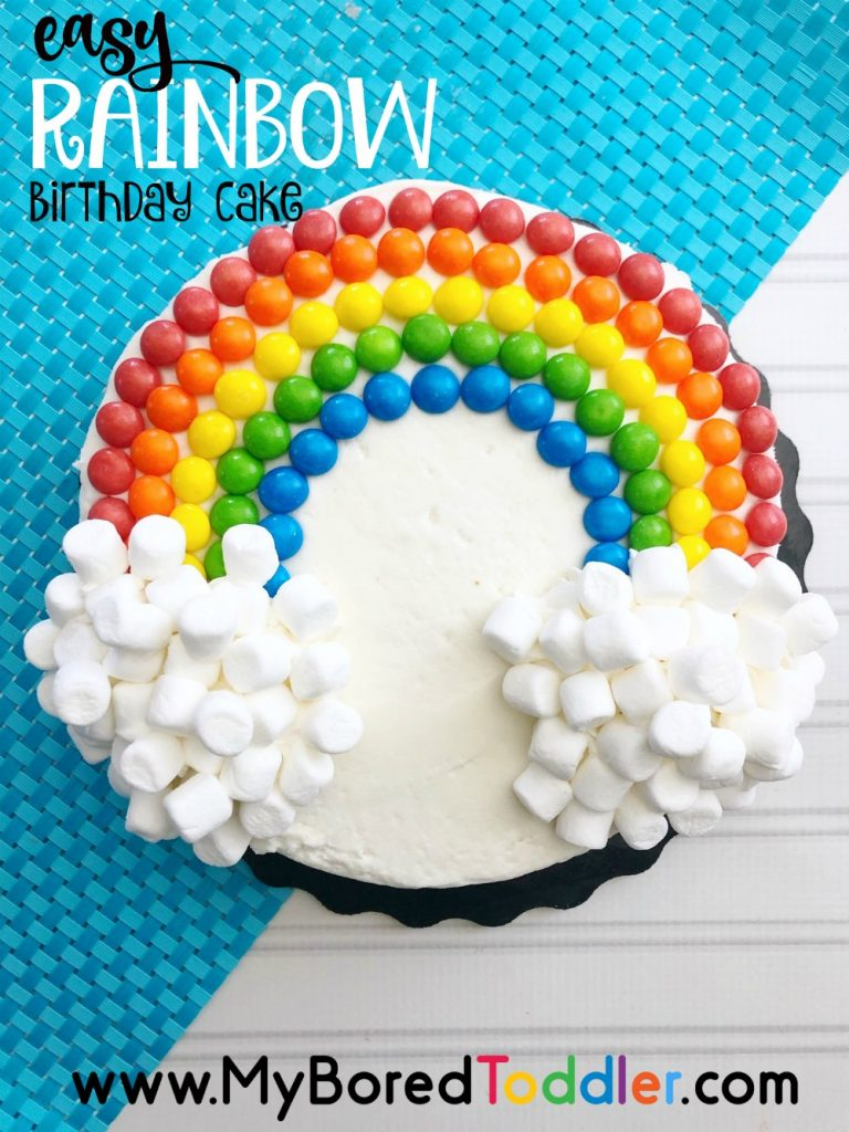 easy rainbow birthday cake using skittles and marshmallows pinterest