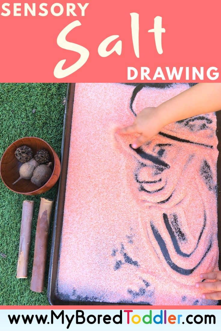 sensory salt drawing for toddlers and preschoolers