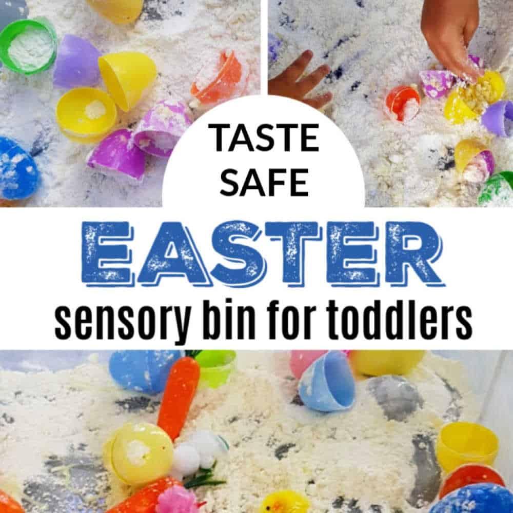 Taste safe Easter cloud dough sensory bin
