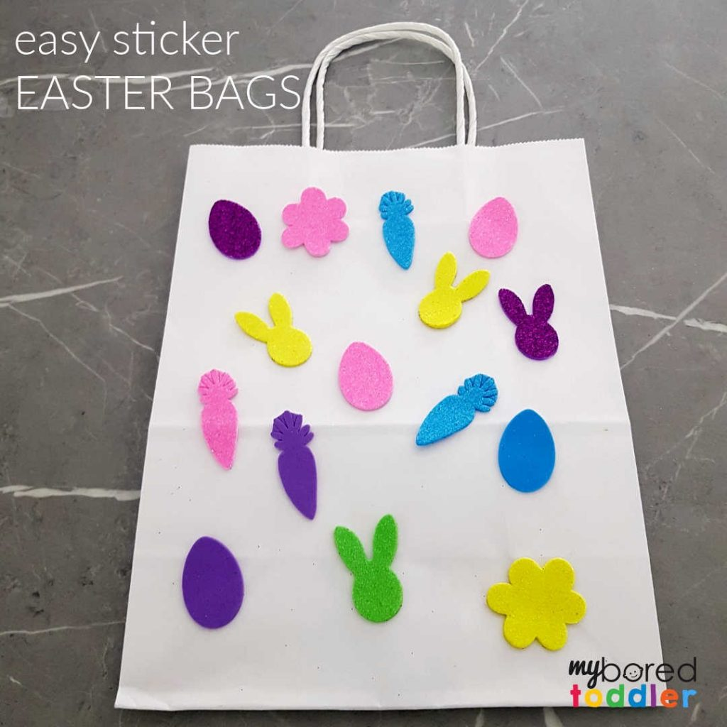 Easy Sticker Easter Bag for Toddlers to Make