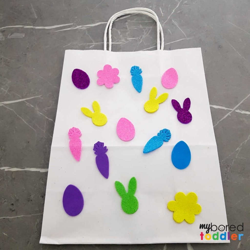 easter gift bags using stickers for toddlers to make finished