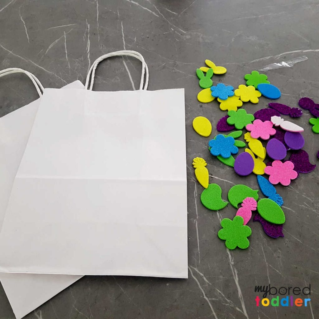 easter gift bags using stickers for toddlers to make step one