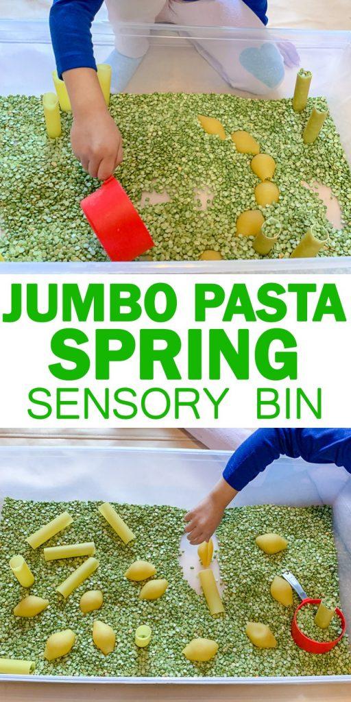 jumbo pasta spring sensory bin for toddlers image 7