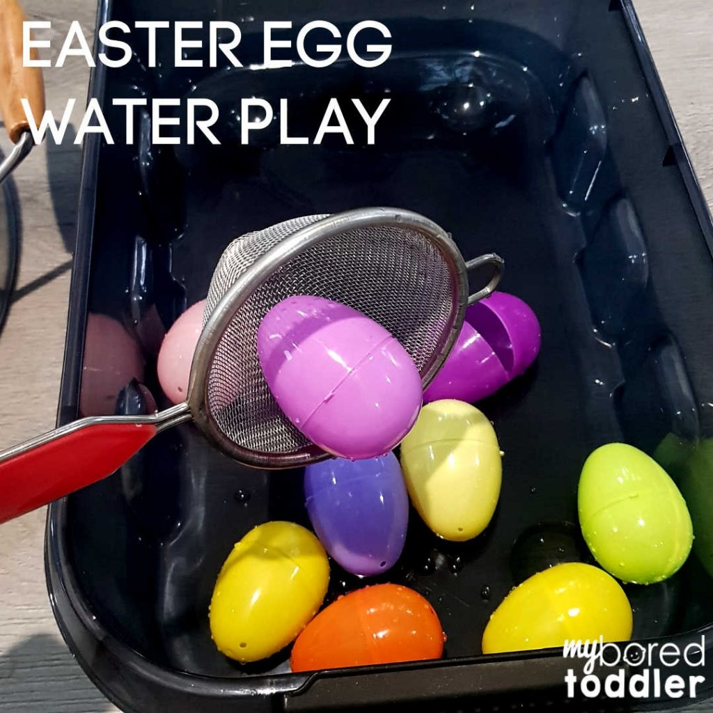 plastic easter egg water scooping sensory feature