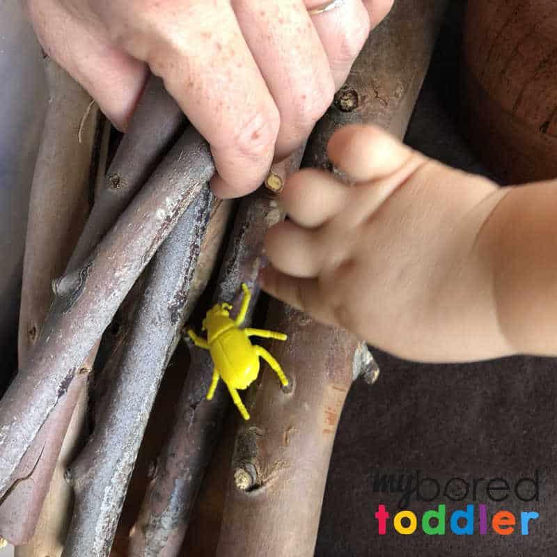 sensory wood pile small world play 1