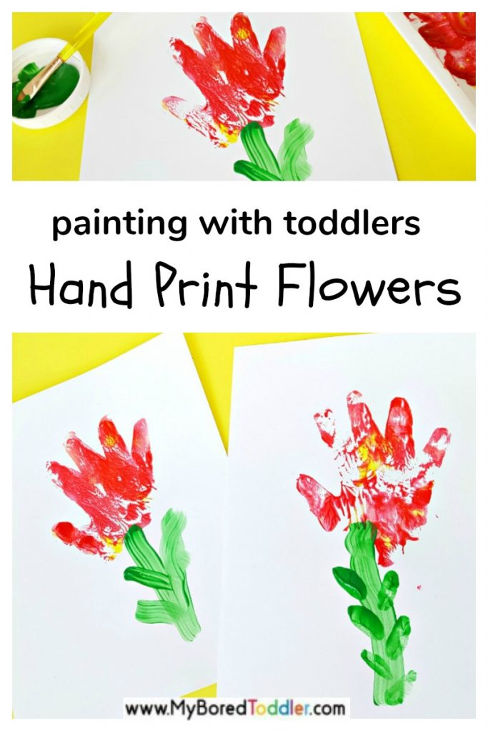 Painting hand print flowers toddler fine motor activity