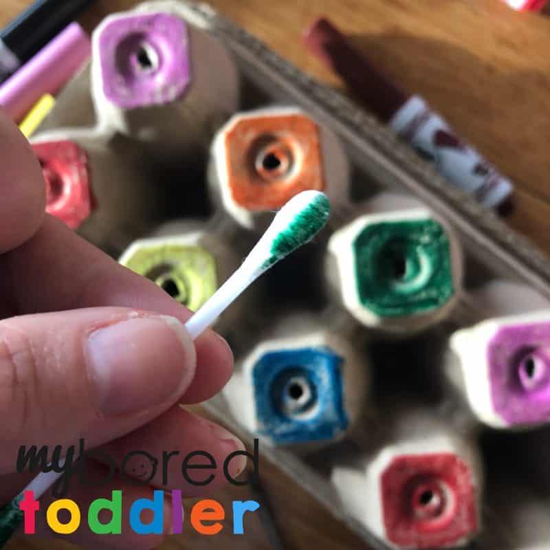 toddler activity - cotton tip colour push