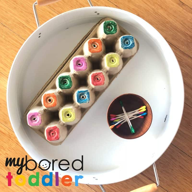 cotton tip push fine motor colour recognition activity for toddlers