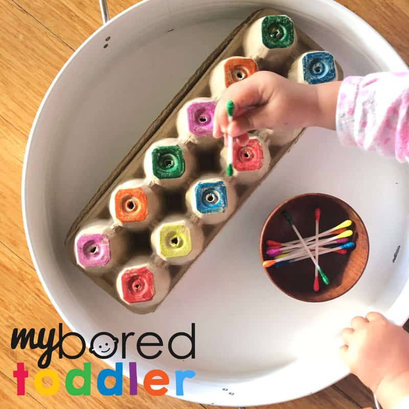 cotton tip colour recogntiion fine motor toddler activity to do at home