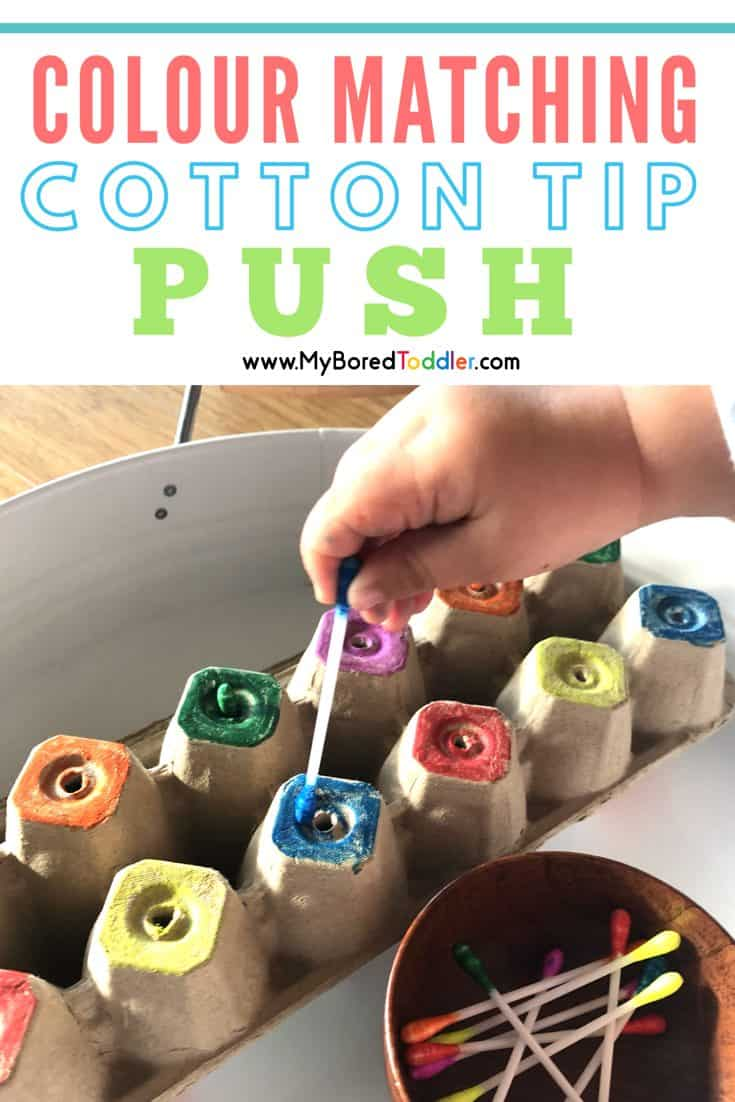colour matching cotton tip colour activity for toddlers