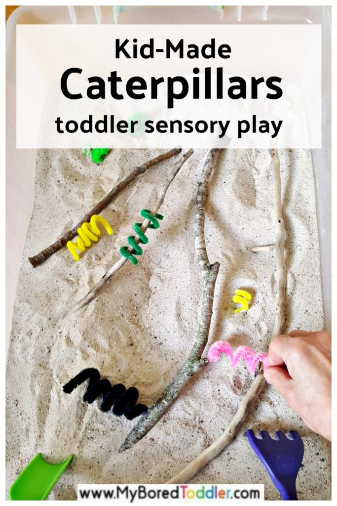 Toddler sensory play with kid-made caterpillars in the sensory bin