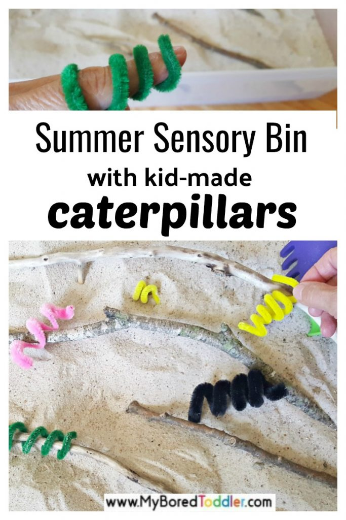 summer sensory bin with kid-made caterpillars
