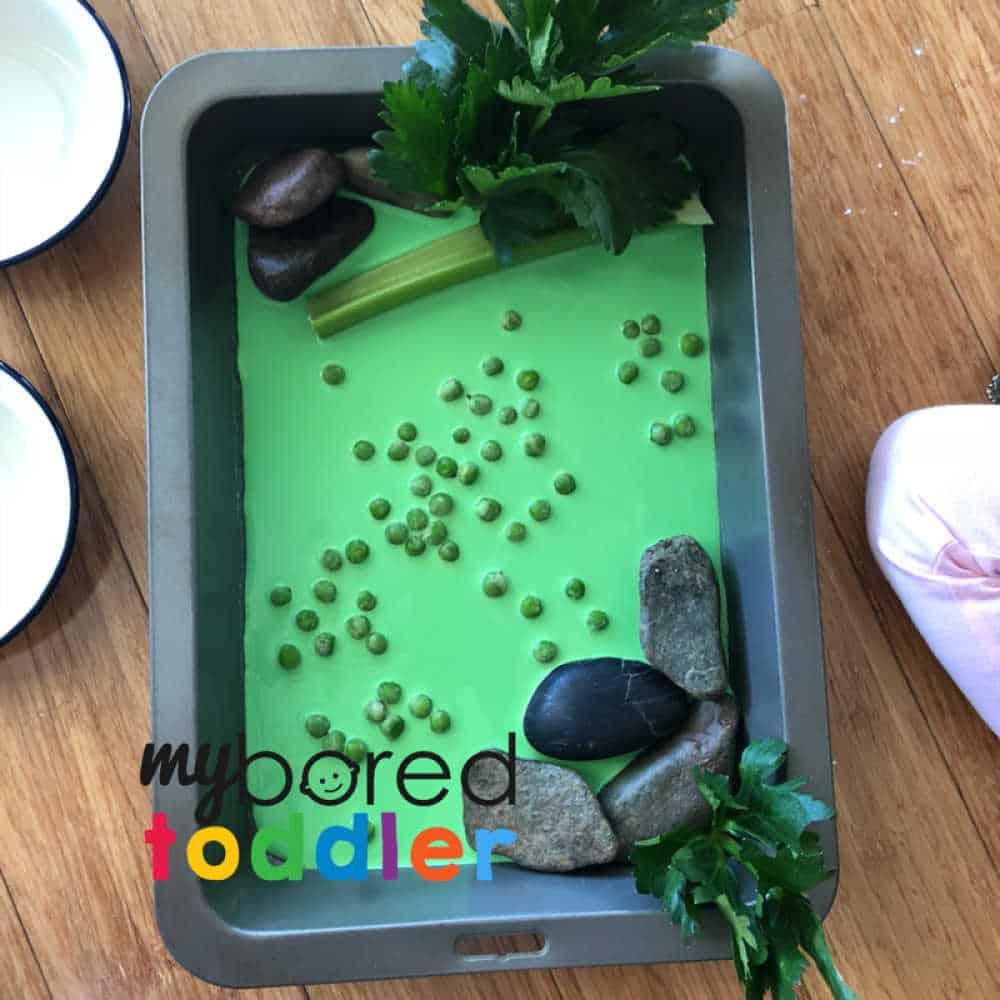 crocodile sensory bin for toddlers and preschoolers