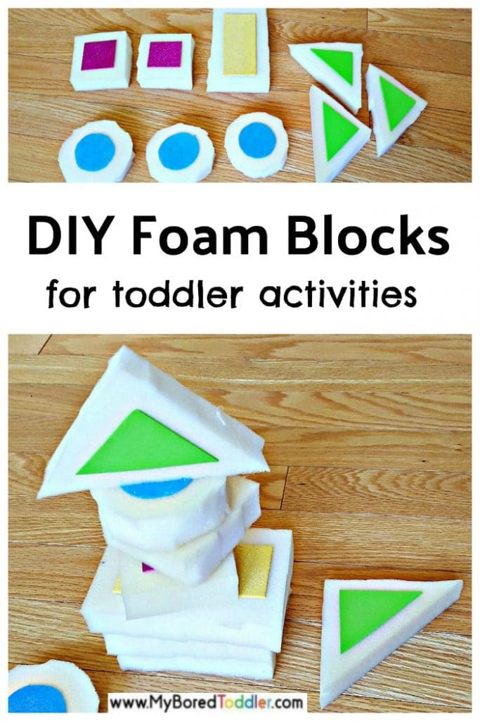 Homemade foam blocks for toddler activities