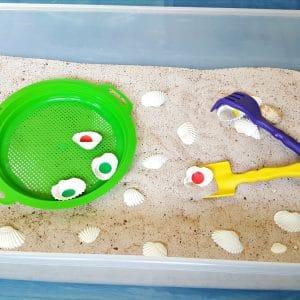 Seashells in the sandbox toddler activity