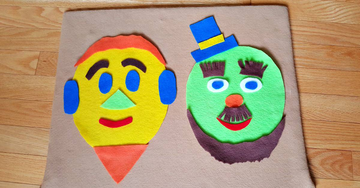 Silly faces kids can create on the felt board