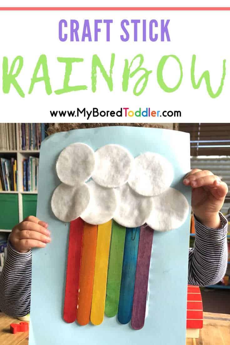 craft stick rainbow easy toddler craft pinterest