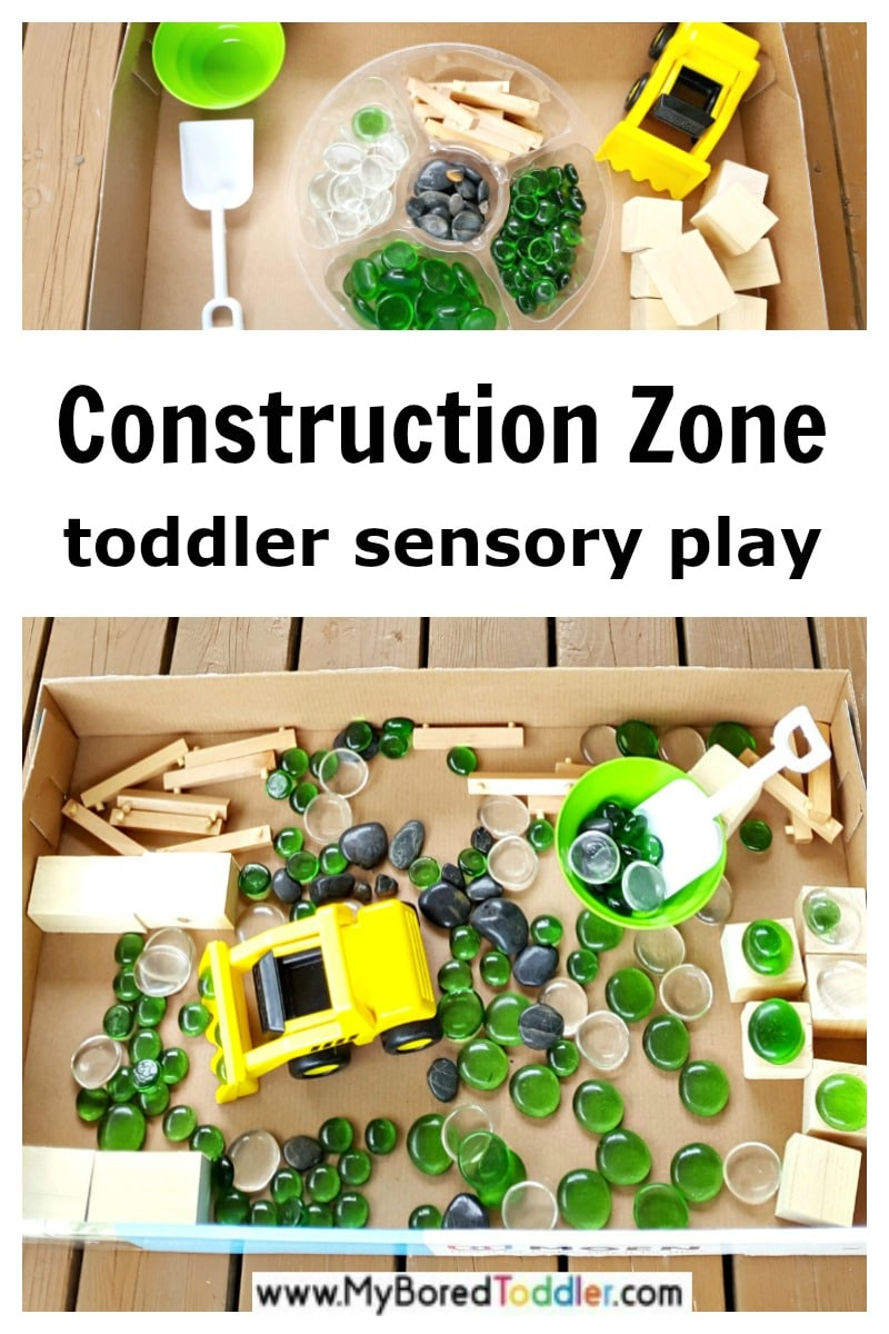 construction zone toddler small world sensory play
