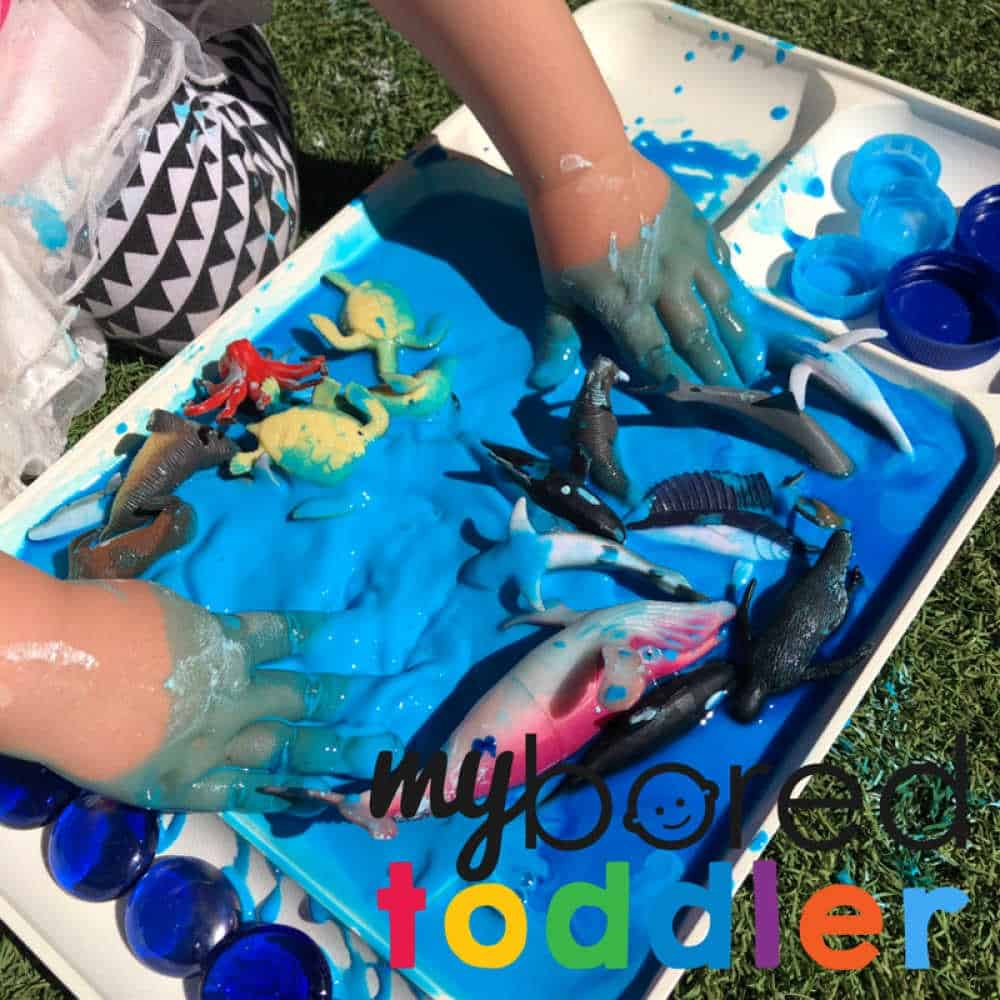 messy play with colored oobleck