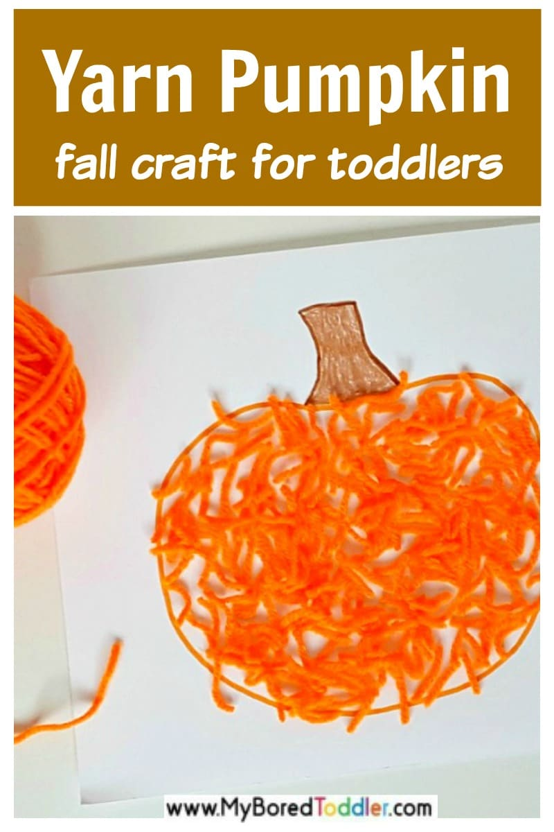 Yarn pumpkin craft for fall season with toddlers