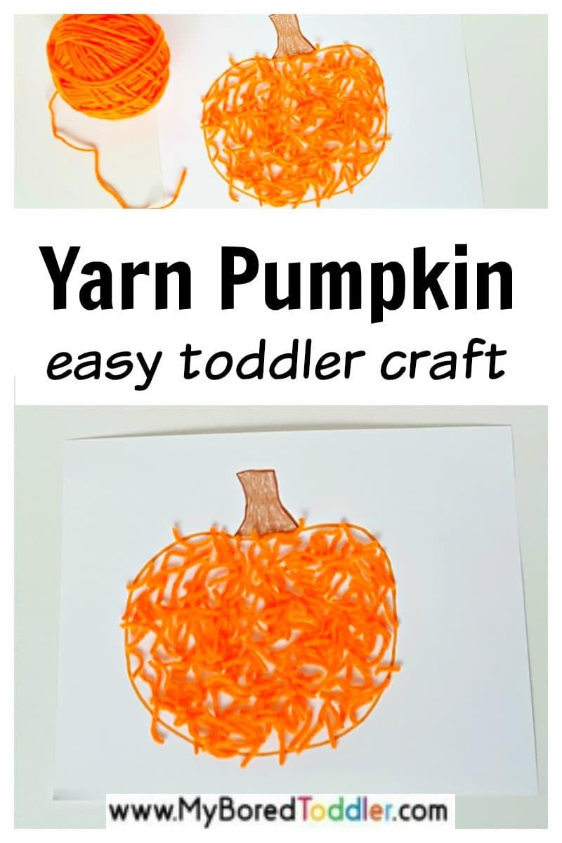 Yarn pumpkin toddler craft
