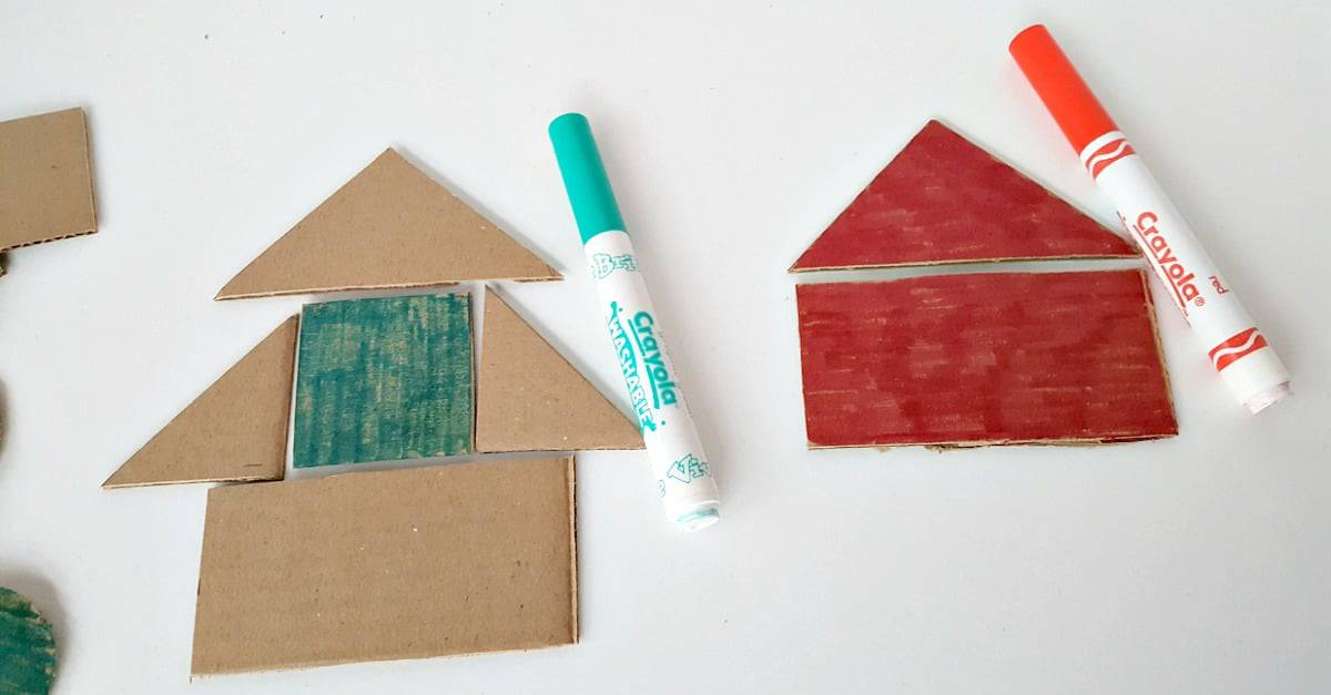 Color cardboard shapes with crayons or markers
