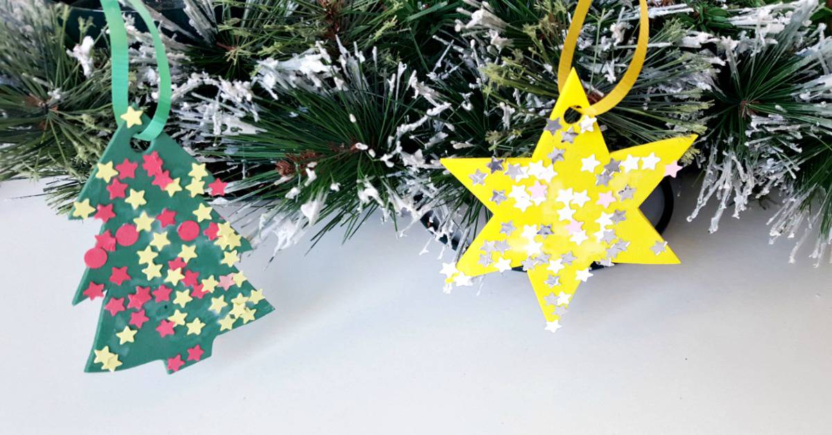 Kid made ornaments made from foam cut outs