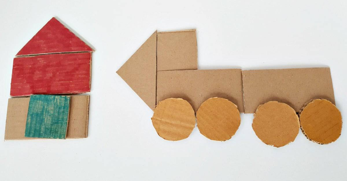 Make a house or car with cardboard shapes