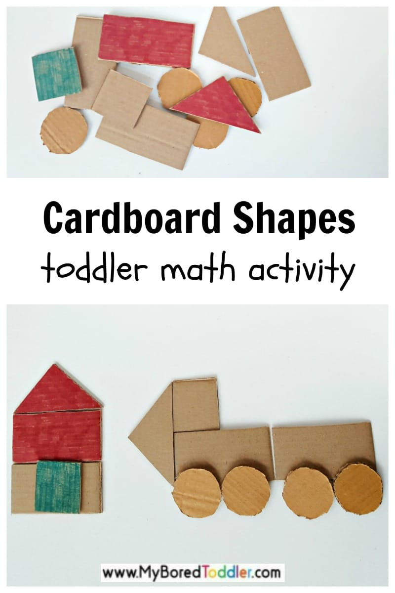 Recycled cardboard math activity with simple shapes for toddler play