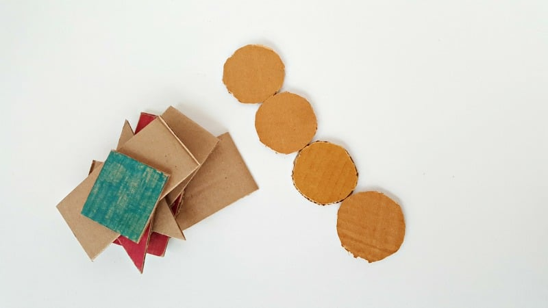 Sort and stack activities for toddlers using homemade cardboard shapes