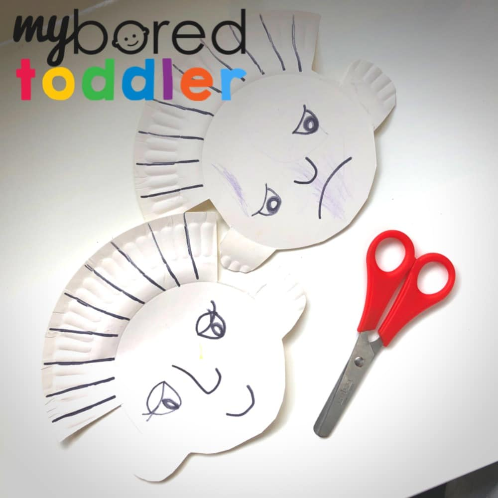 paper plate hair cut craft for toddlers - fine motor and scissor skills toddler activity 3