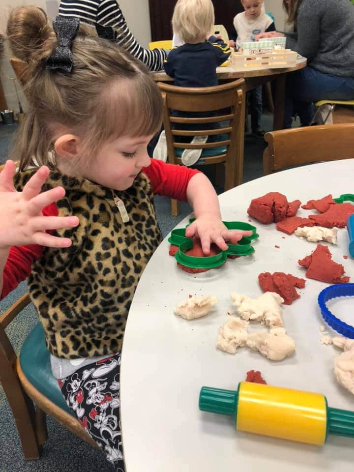 Christmas Cookie Cutter playdough for toddlers