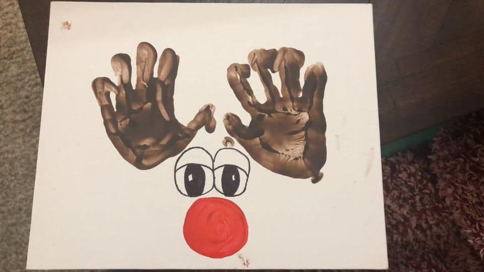 Reindeers with handprints toddler craft for Christmas