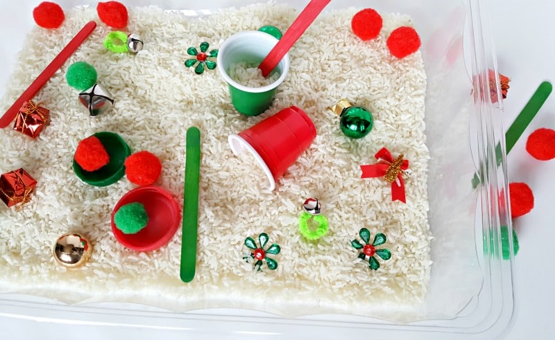 Sensory bin toddler activity for Christmas holiday play
