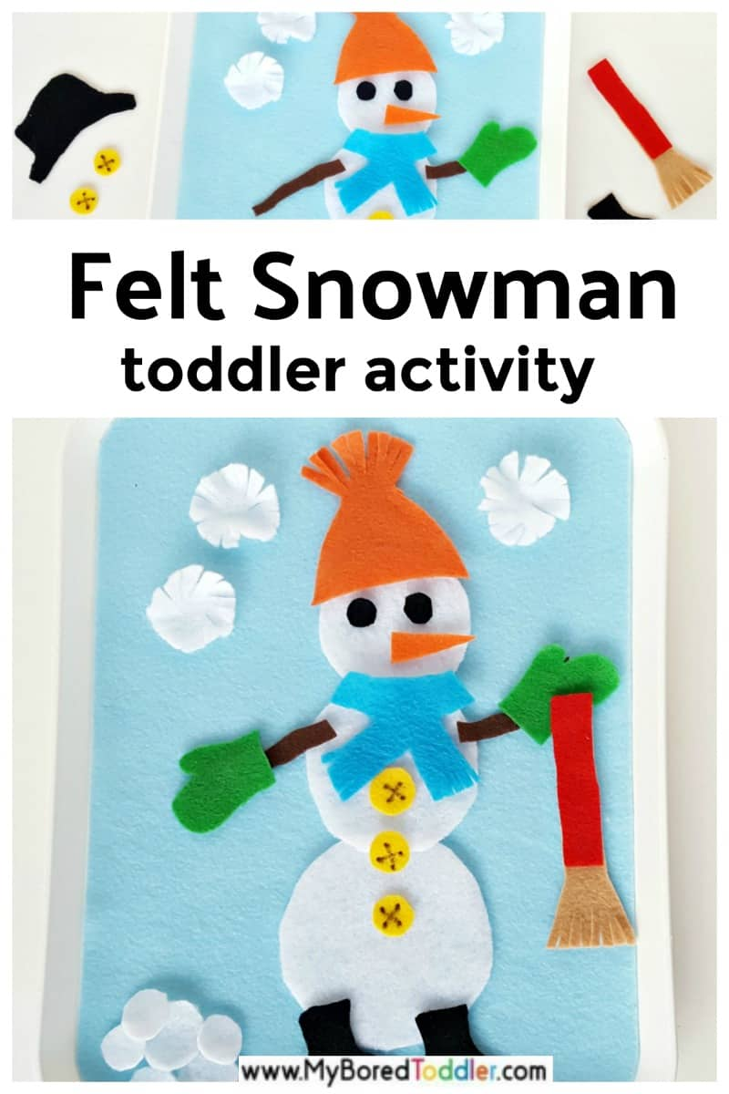 Snowman fine motor creative activity on the felt board