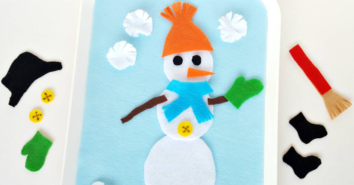 Snowman on the felt board winter theme toddler activity