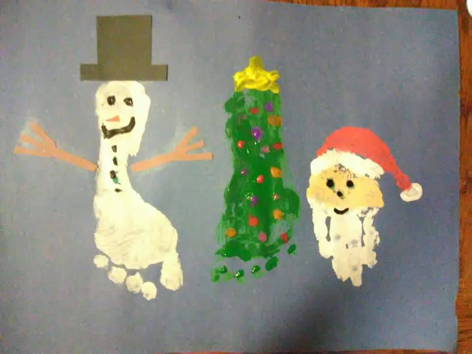footprint Christmas art for toddlers beci