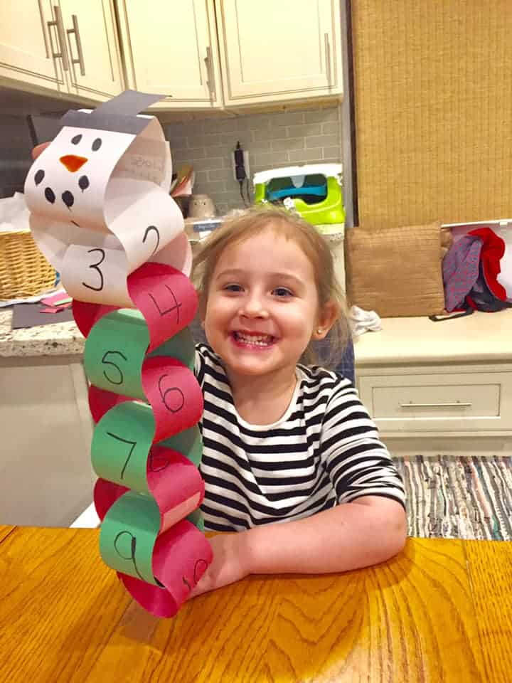 paper chain snowman toddler Christmas activity