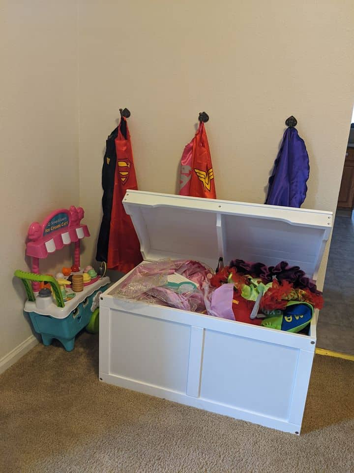 toy box as storage for kids dress up clothes