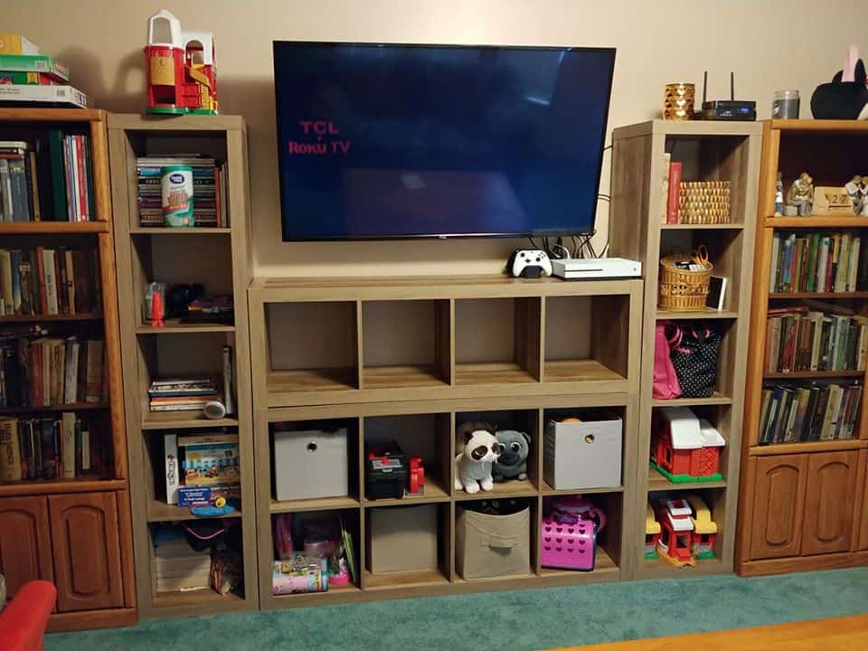 toy storage ideas using cubed shelves from Walmart