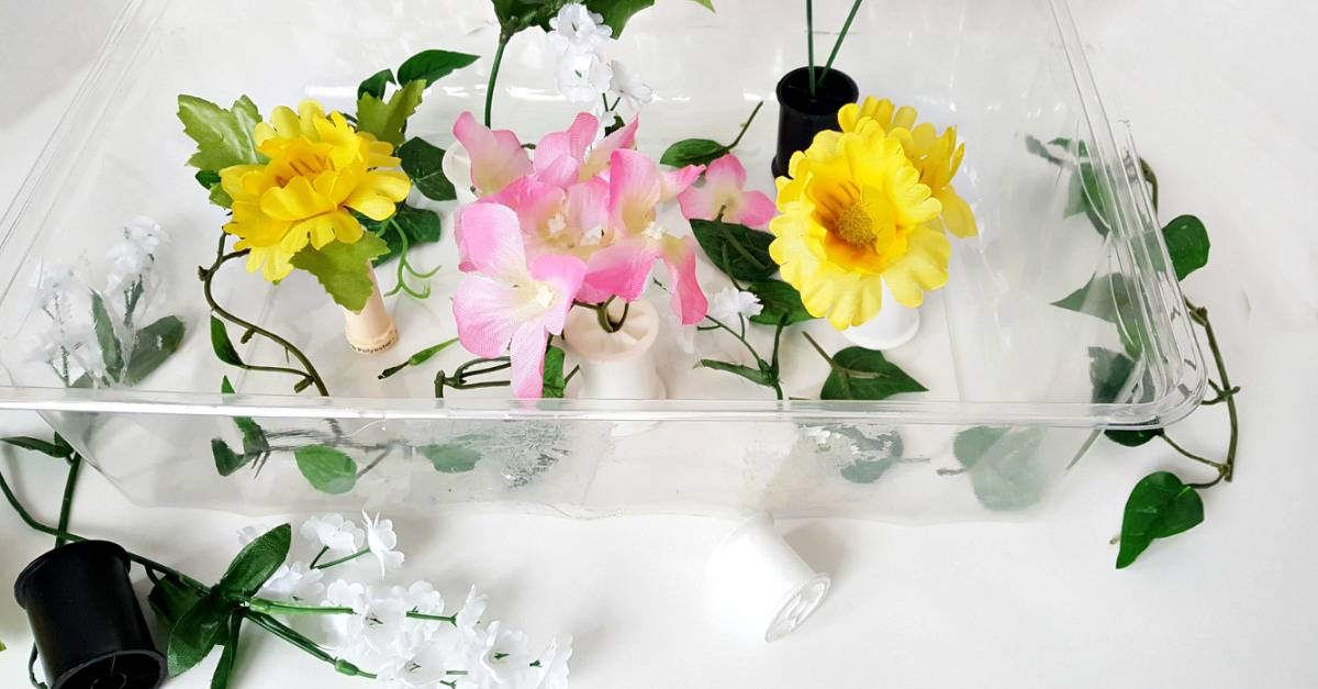Flowers in the sensory bin toddler activity