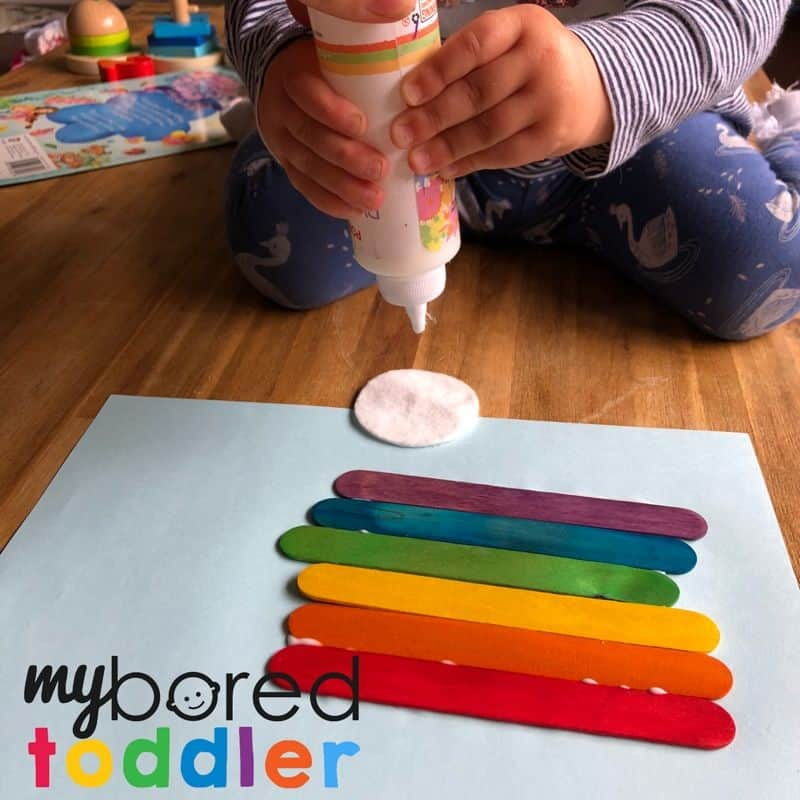 craft stick rainbow for toddlers 4