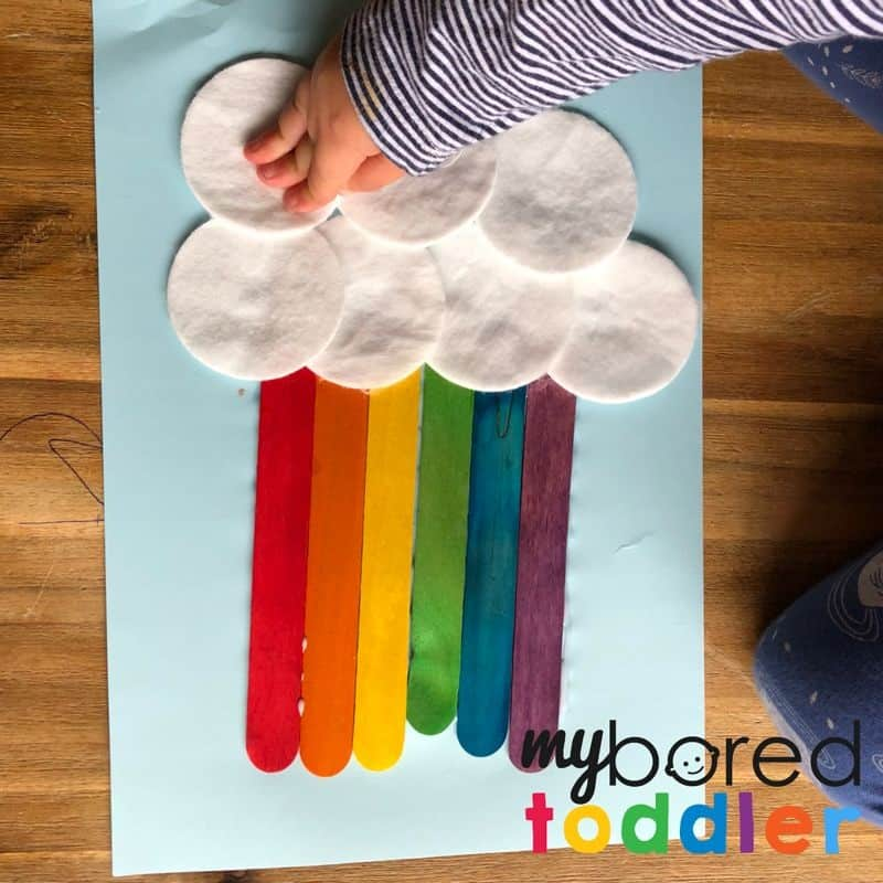 craft stick rainbow for toddlers to do at home 5