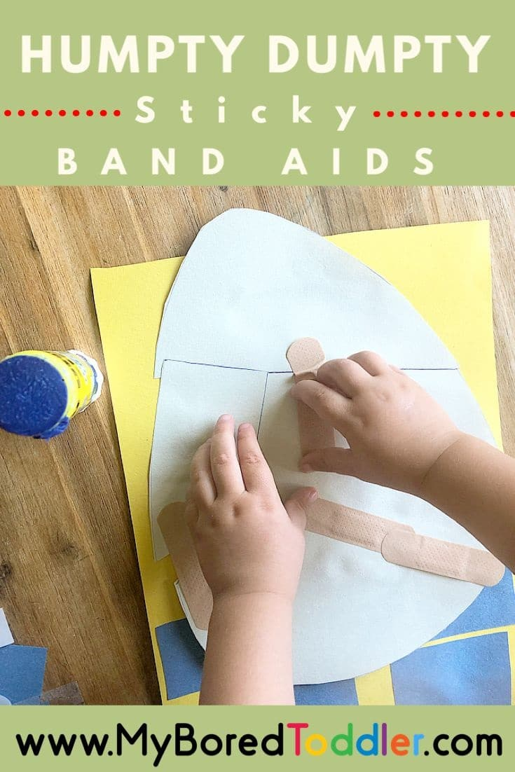 humpty sticky bandaid fine motor activity idea for toddlers pinterest